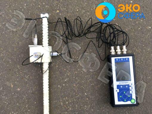 Адаптер 005ГР для измерения вибрации грунта и шумомер-виброметр ЭКОФИЗИКА