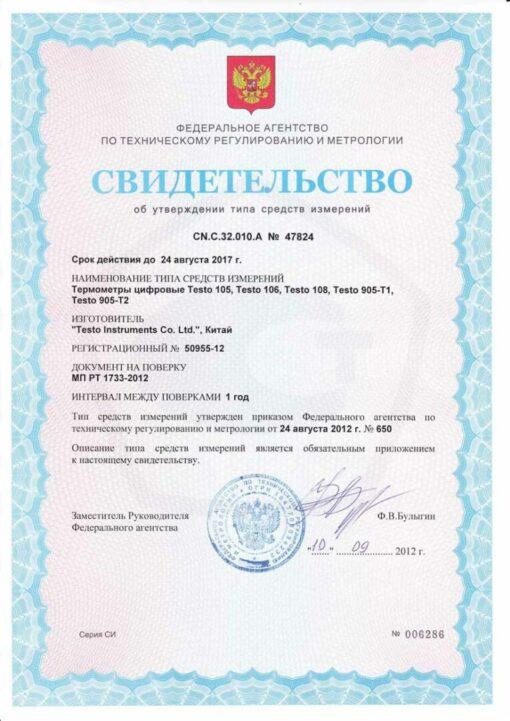 Свидетельство об утверждении типа средств измерений Testo 905 - T2