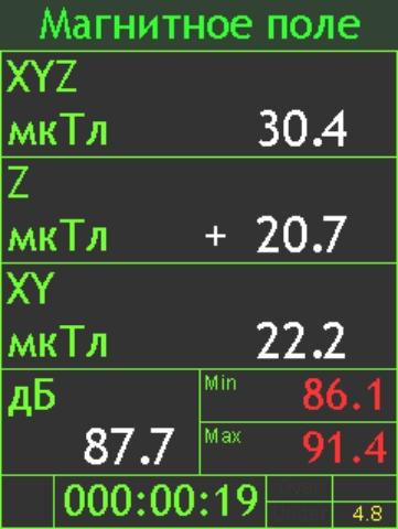 Режим измерения геомагнитного поля измерителем П3-81-1