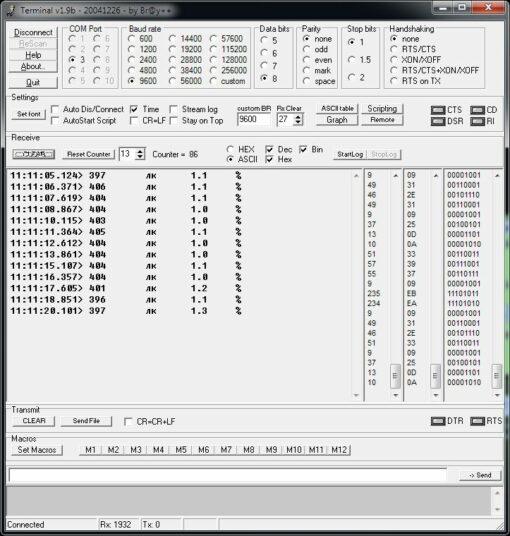 Пример вывода данных на экран ПЭВМ для люксметра-пульсметра ТКА-ПКМ 08 с поверкой