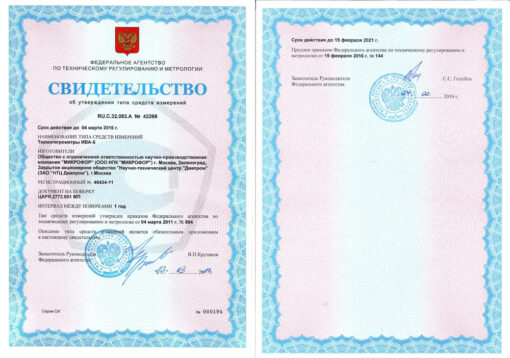Свидетельство об утверждении типа средств измерений термогигрометра Ива-6