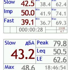 Пример вывода измеряемого значения уровня звука в табличном виде в шумометре Октава-121
