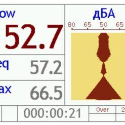 Пример вывода измеряемого значения уровня звука в графическом виде в шумометре Октава-121