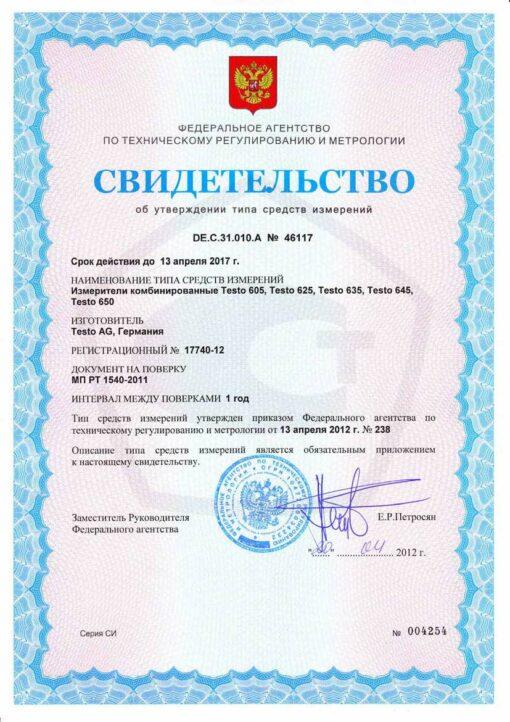 Свидетельство об утверждении типа средств измерений Testo 625