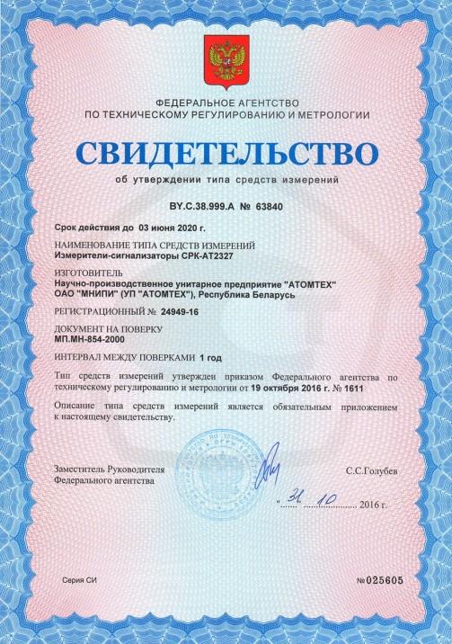 Измеритель-сигнализатор СРК АТ-2327 (Мониторы радиационные пешеходные МРП-АТ920 и МРП-АТ920В) - Свидетельство о внесение в Госреестр СИ РФ