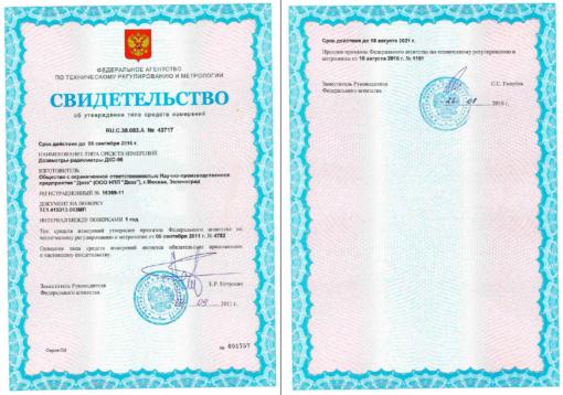 Свидетельство об утверждении типа дозиметра-радиометра ДКС-96