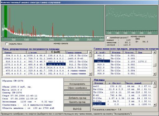 Ge Spectra Analysis System - Гамма-спектрометрический анализ