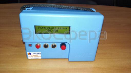 Установка продолжительности отбора проб воздуха на аспираторе Бриз-03 с первичной поверкой