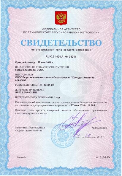 Свидетельство об утверждении типа средств измерений ЭССА-H2S/N исполнение БС/(Н)/(Р)