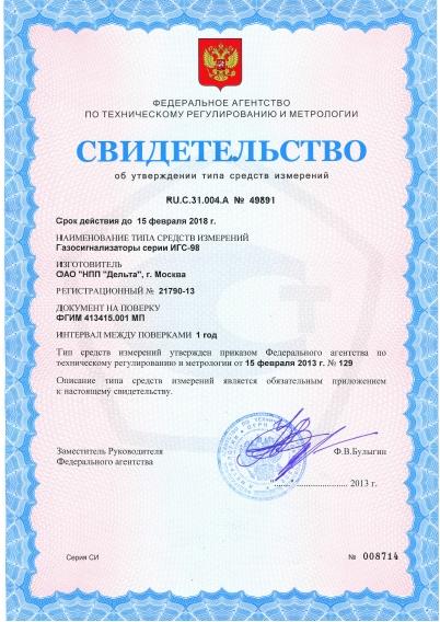 Свидетельство об утверждении типа средств измерений газоанализатора Бином-В