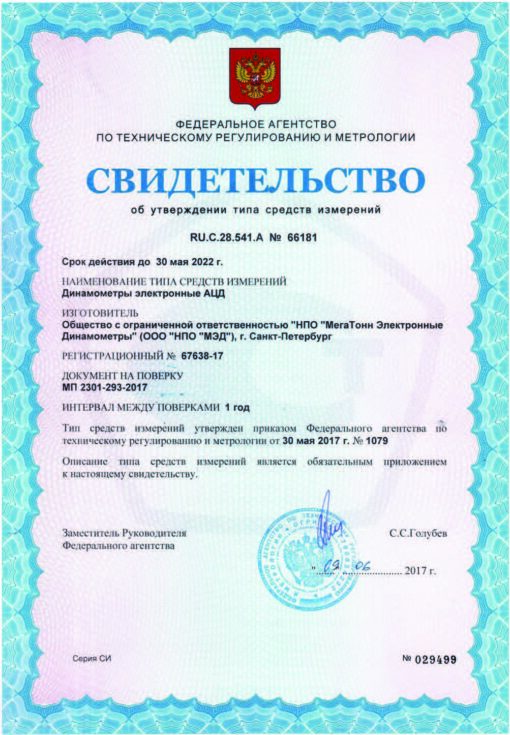 Свидетельство об утверждении типа средств измерений электронного динамометра АЦД 1С