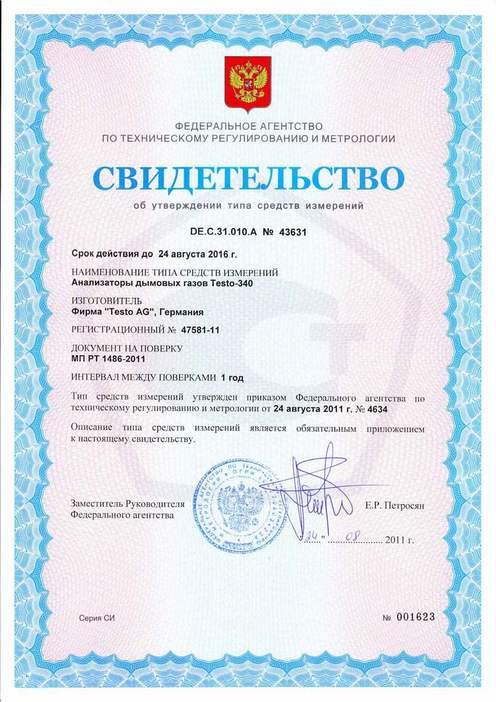 Testo 340 - Свидетельство о внесении в Госреестр СИ РФ