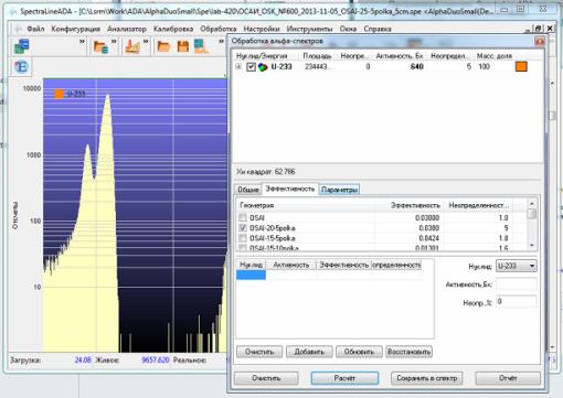 SpectraLineADA - Обработка альфа-спектров
