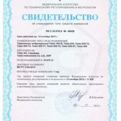 Свидетельство об утверждении типа средств измерений Testo 835