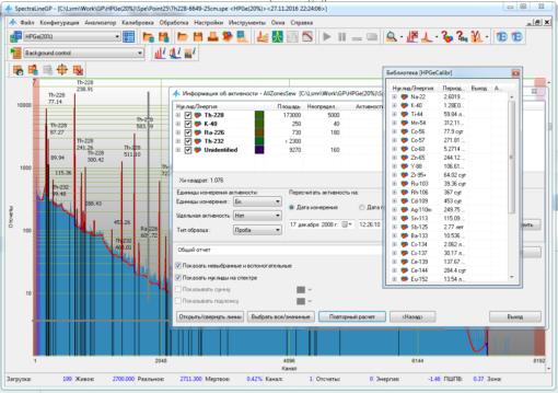 SpectraLineGP - Обработка гамма-спектров