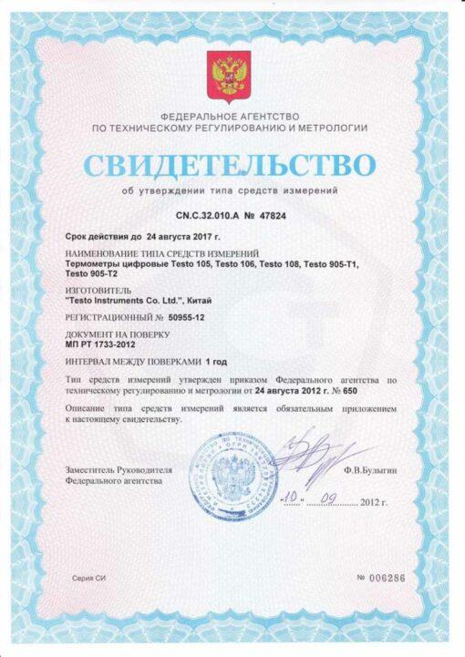 Свидетельство об утверждении типа средств измерений термометра Testo 105