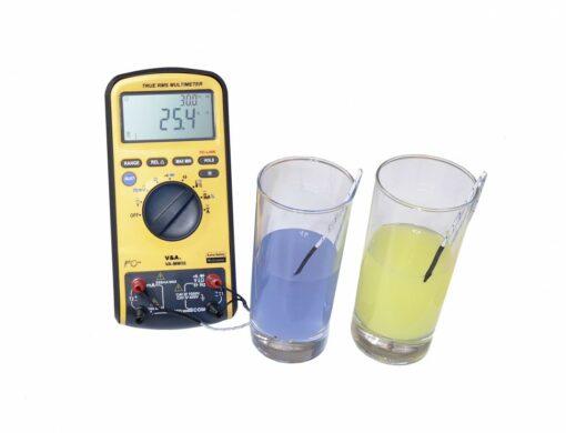 Мультиметр цифровой VA-ММ55 с повышенной защитой, одновременное измерение двух температур через термопары